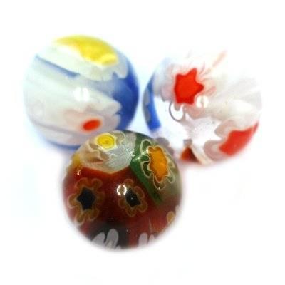 beads multicolor millefiori flowers 8 mm