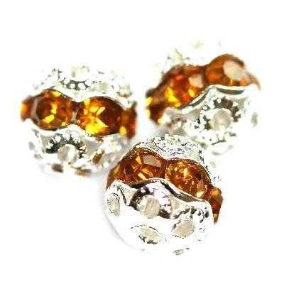 spacers beads with zircons topaz 8 mm