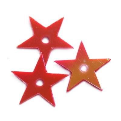 cekiny kremowo - tęczowe gwiazdki czerwone 13 mm