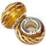 perles modulaires zèbres ambre 9 x 14 mm