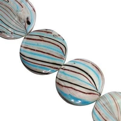 mother of pearl coin blue waves 25 mm
