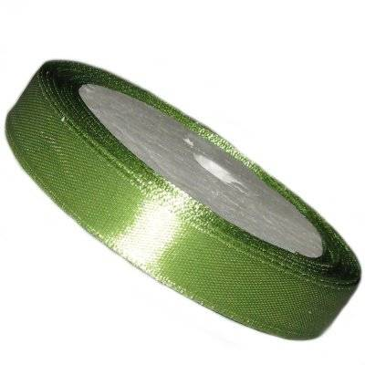 satin ribbon olive 12.5 mm