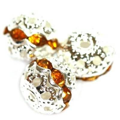 spacers beads with zircons topaz 10 mm