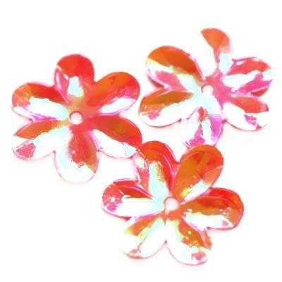 cekiny kremowo - tęczowe kwiatki różane 15 mm