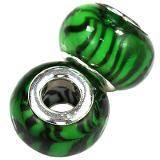 perline modulari zebre allo smeraldo 9 x 14 mm