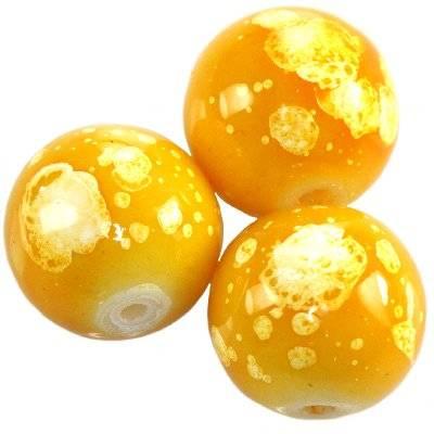 Perles de verre miel galactiques 14 mm