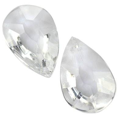 faceted transparent drop beads 16 x 26 mm