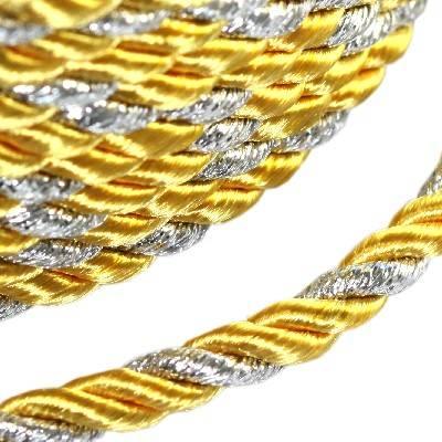 cordone intrecciato giallo con filo d'argento 4 mm