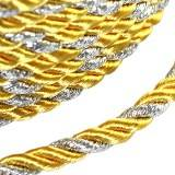 flettet snor gul med sølv tråd 4 mm