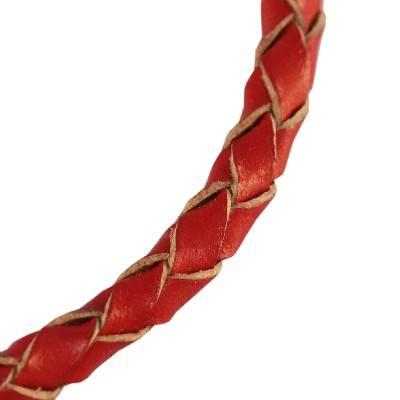 rzemień pleciony okrągły czerwony 4 mm
