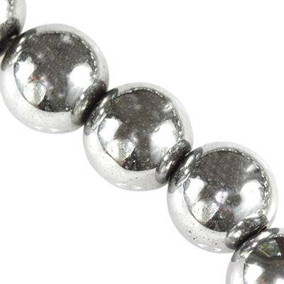 runde hæmatit sølv 8 mm