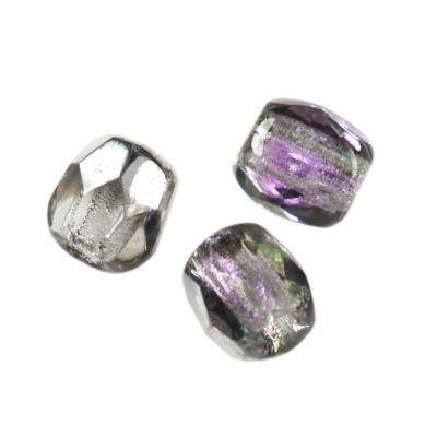 Czech Fire Polished beads 3mm round light violet silver