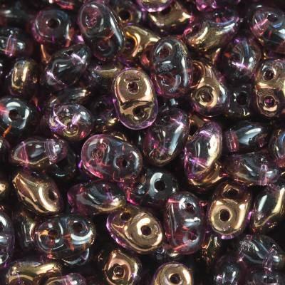 SuperDuo Glasperlen amethyst semi bronze luster 2,5 x 5 mm / Zwei Loch Perlen