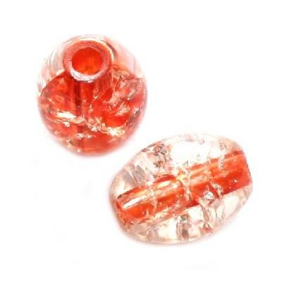 crackle beads ovals orange color inside 6 x 8 mm