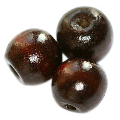 round wooden beads dark brown 9 x 10 mm