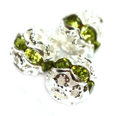 spacers beads with zircons olivine 6 mm