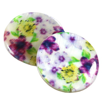 mother of pearl coin pansy 20 mm