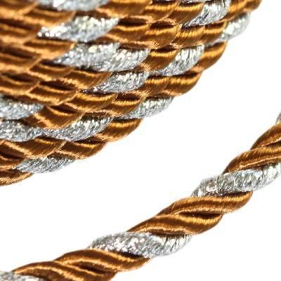 cordone intrecciato marrone con filo d'argento 4 mm