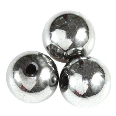 ronde hématite argent 10 mm