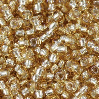 perline Preciosa Rocaille transparent silver lined sand 2.1 mm