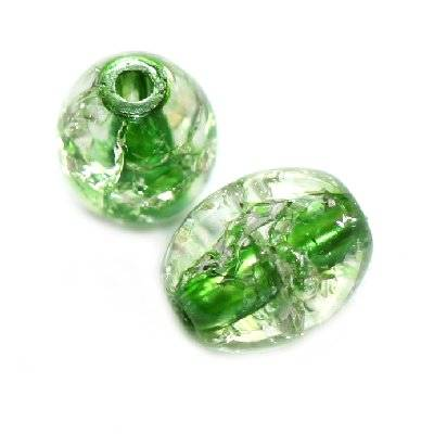 crackle beads ovals green color inside 6 x 8 mm