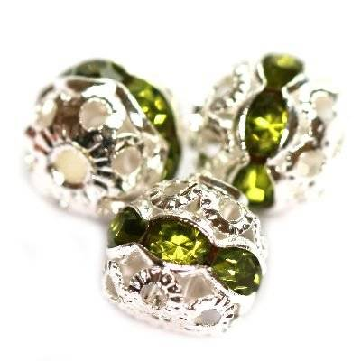 spacers beads with zircons olivine 8 mm