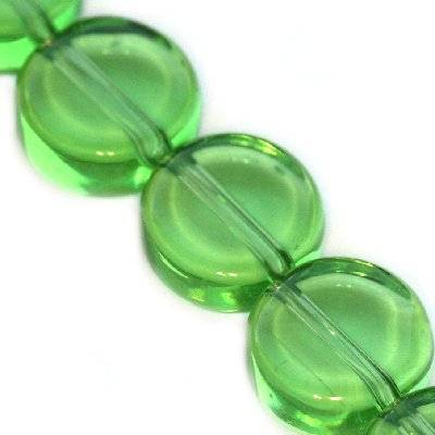 glass beads flat round green 10 mm