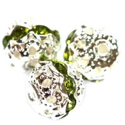 spacers beads with zircons olivine 10 mm