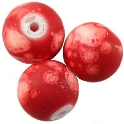 Perles de verre rouge galactique revêtu de caoutchouc de 12 mm