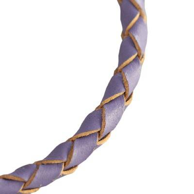 rzemień pleciony okrągły fioletowy 4 mm