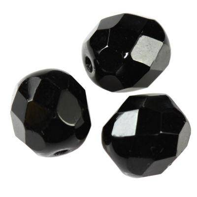 Fire Polished 8mm perle cristallo black