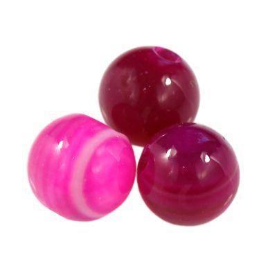 round smooth agate fuchsia 6 mm