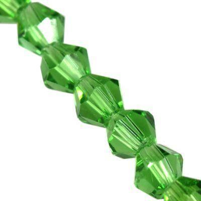 CrystaLine dubbele kegels groen 4 mm / crystal kralen