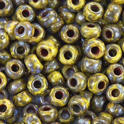 Perles Miyuki round opaque picasso dark yellow 6/0