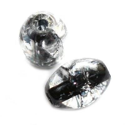 crackle beads ovals black color inside 6 x 8 mm