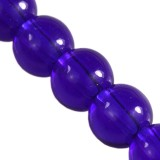 glass beads round blue 6 mm