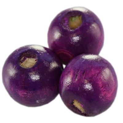 round wooden beads amethystine 9 x 10 mm
