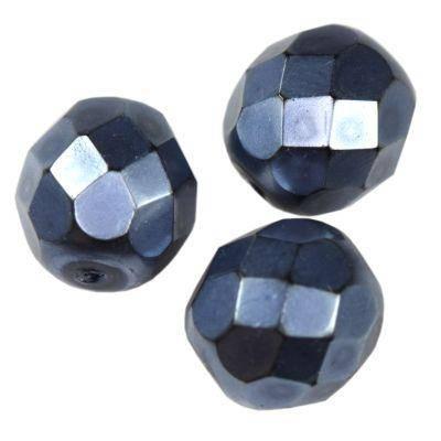 round beads dark denim blue 8 mm
