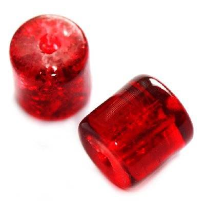 crackle beads tubes red 7 x 8 mm