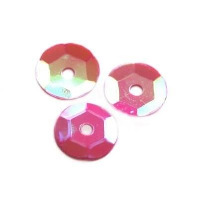 cekiny kremowo - tęczowe koła łamane różowe 8 mm