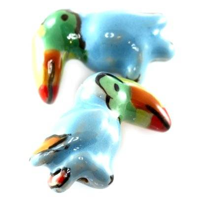 toucans en porcelaine bleus 15 x 20 mm