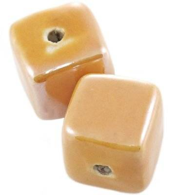 cubes en porcelaine brillantes miel 16 mm