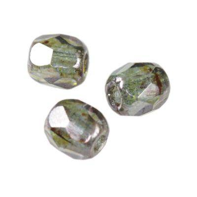 Czech Fire Polished beads 3mm round light mint dark silver