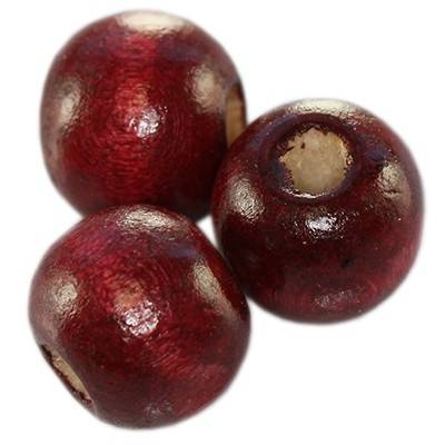 round wooden beads burgundy 9 x 10 mm