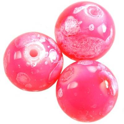 glass beads galactic pink 14 mm