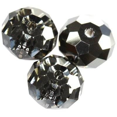 Swarovski briolette beads crystal silver night 8 mm
