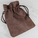 linen bag brown 9 x 12 cm