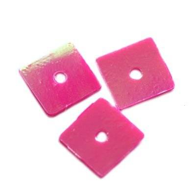 sequins cream - rainbow squares pink 7 x 7 mm