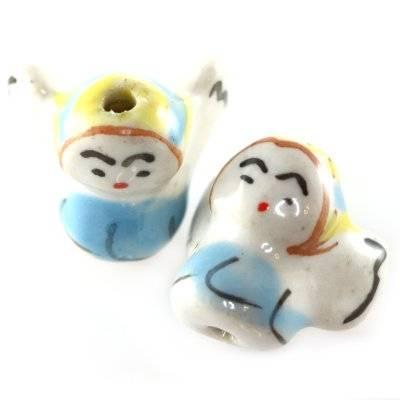 anges en porcelaine bleus 15 x 15 mm