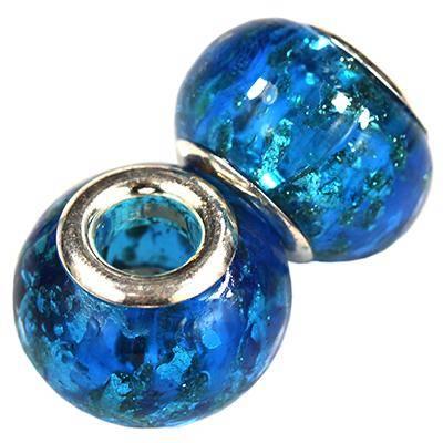 perles modulaires éclatantes azurées 9 x 14 mm